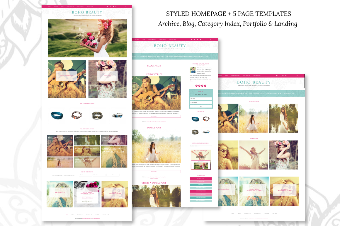 Boho beauty demo stephaniehellwig for Cosmetology portfolio template