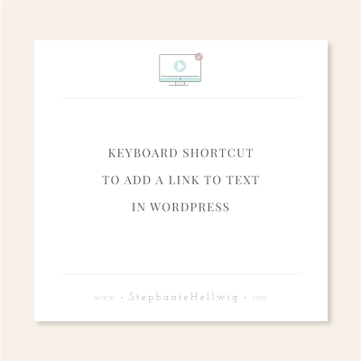 A keyboard shortcut to link text in WordPress