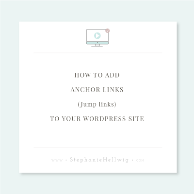 Creating jump links also called anchor links in WordPress
