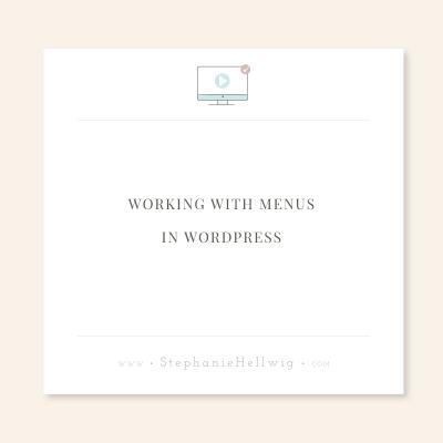 Working with WordPress Menus